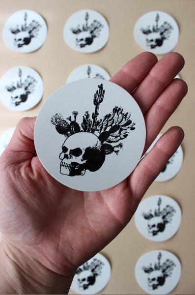 Image of Cactus Skull Circle Sticker