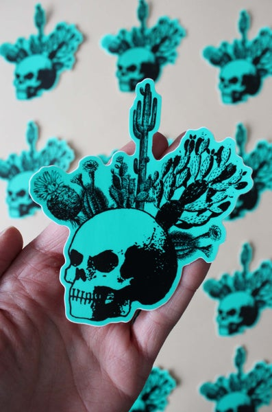 Image of Teal Cactus Skull Sticker