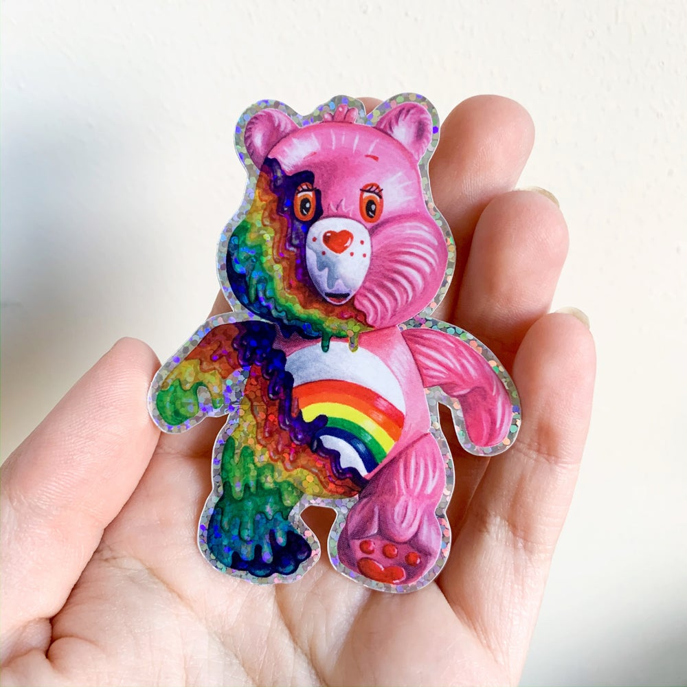 Image of Holo Glitter Melty Bear Sticker
