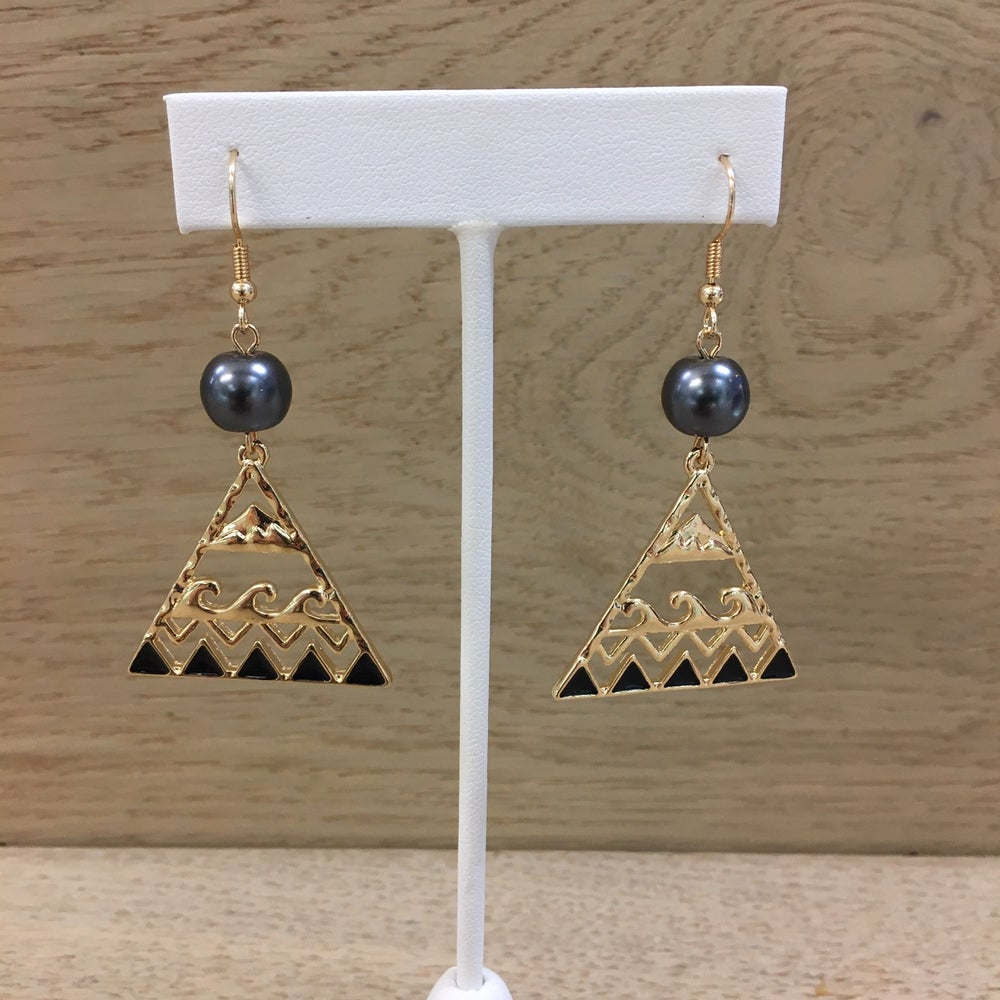 Image of Mauna Kea Koa Nalu Pearl Earrings