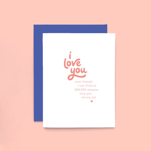 Image of annoying love letterpress card - i love you card - funny love card
