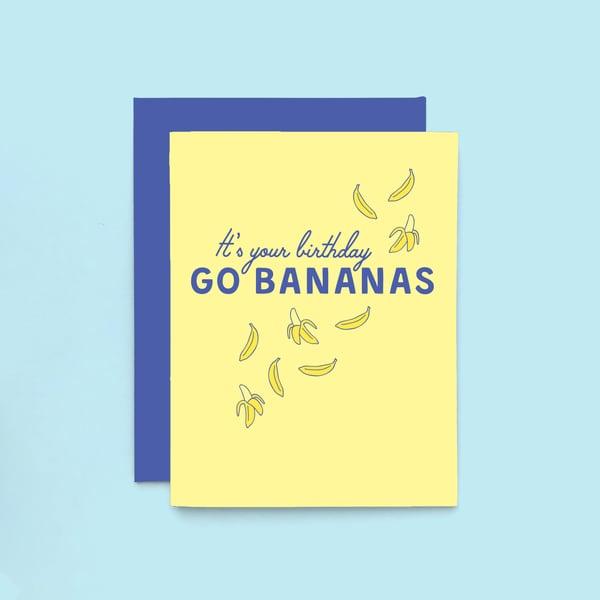 Image of birthday bananas letterpress card