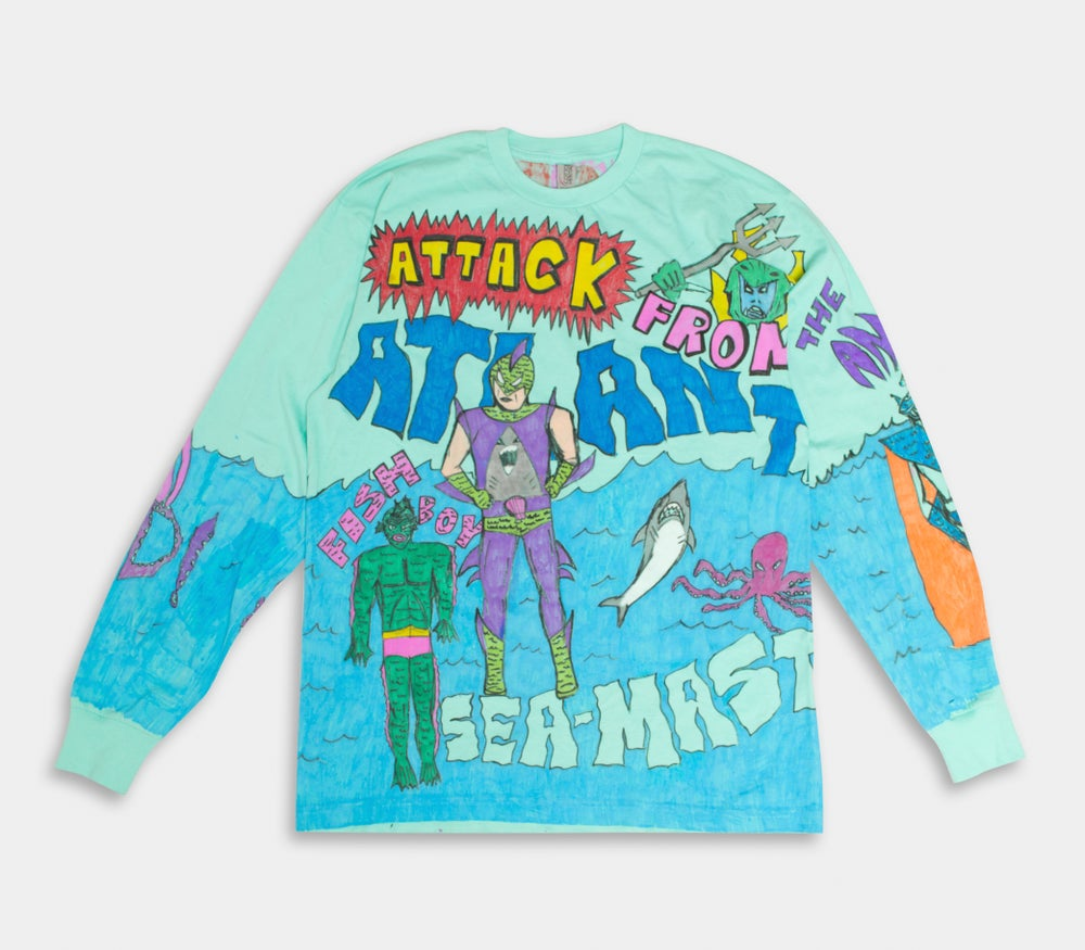 Image of Attack From Atlantis 1/1 Hand  Drawn Long Sleeve Tee
