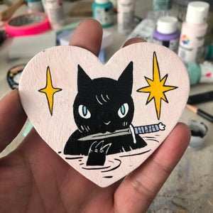 Image of Cat with Knife Valentine