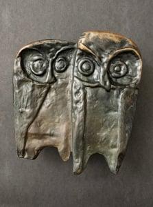 Image of Bronze Push or Pull Door Handle with Owl Design