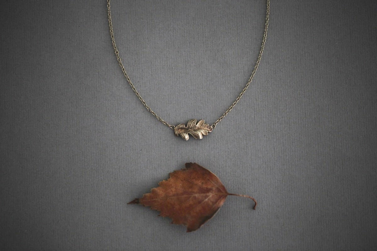 Image of oak leaf necklace in silver or 9ct gold