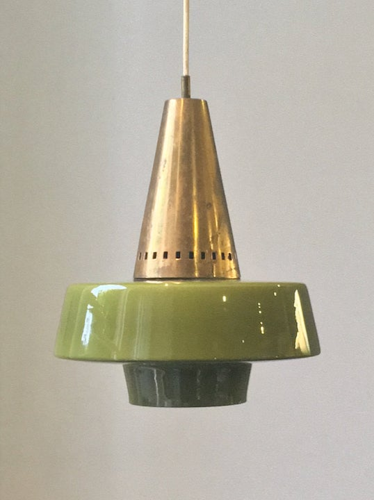 Image of Brass & Glass Pendant Light by Stilnovo (Labelled)