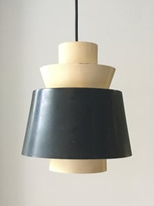 Image of Pendant Light of Black and Off-White Metal by Stilnovo Italy