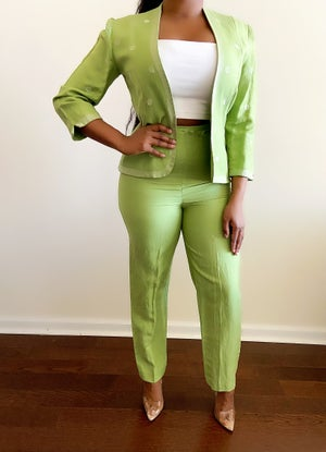 Image of Vintage Vibrant Green Power Suit - M