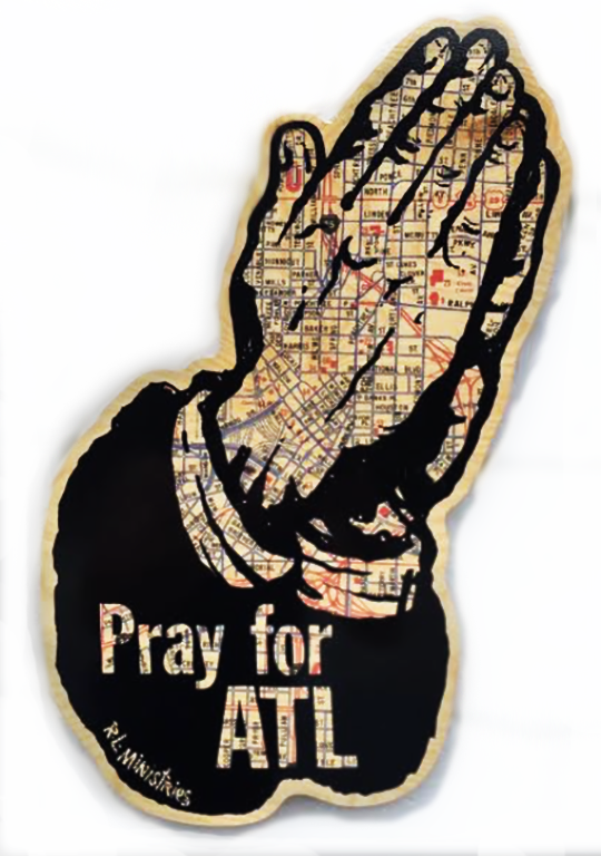 Image of Pray For ATL Map Print On Wood