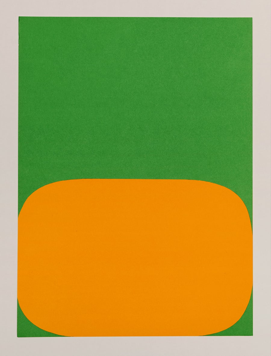 Image of Ellsworth Kelly, Derrière Le Miroir - Kelly No. 149, 1964, green / orange