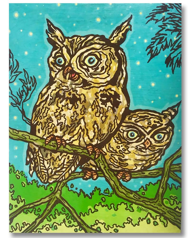 Image of New! Owls print on wood