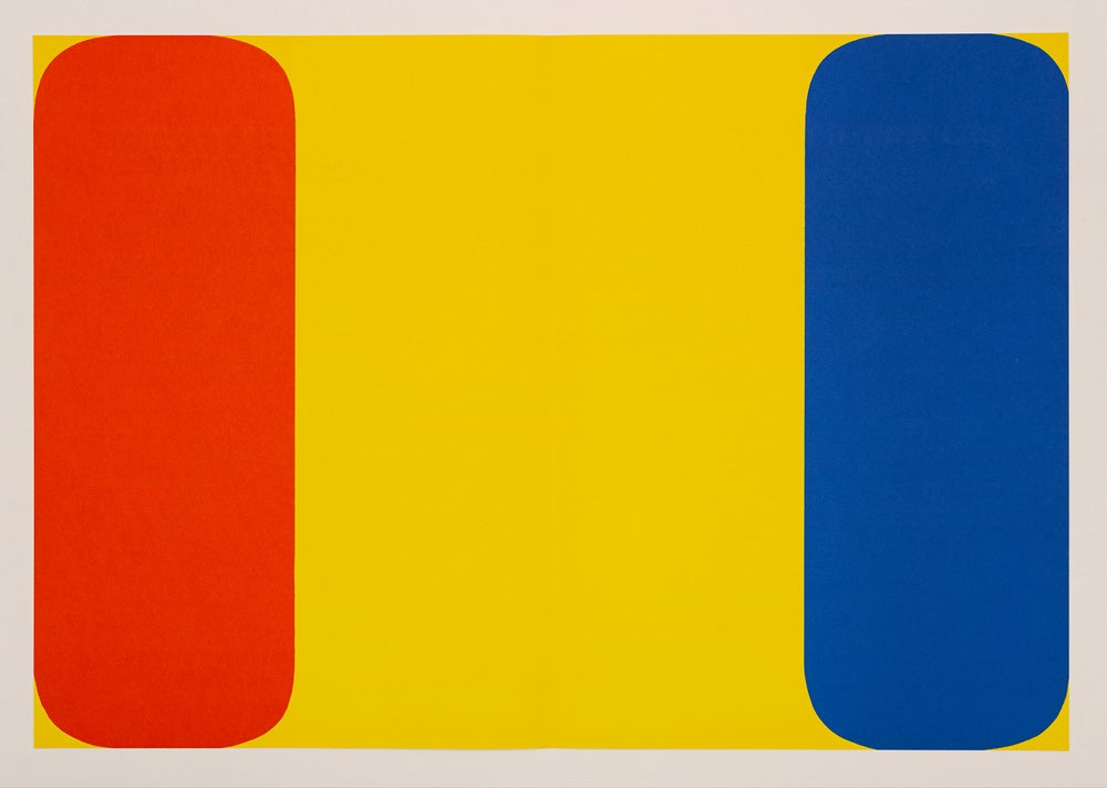 Image of Ellsworth Kelly, Derrière Le Miroir - Kelly No. 149, 1964, yellow / red / blue