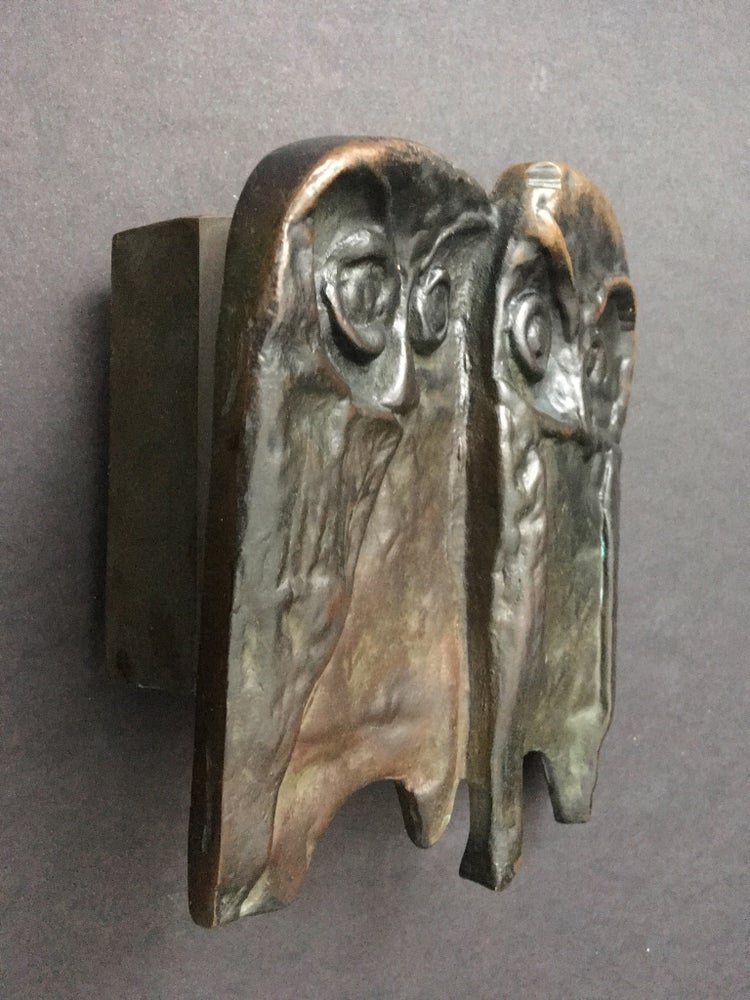 Image of Bronze Push or Pull Door Handle with Owl Design