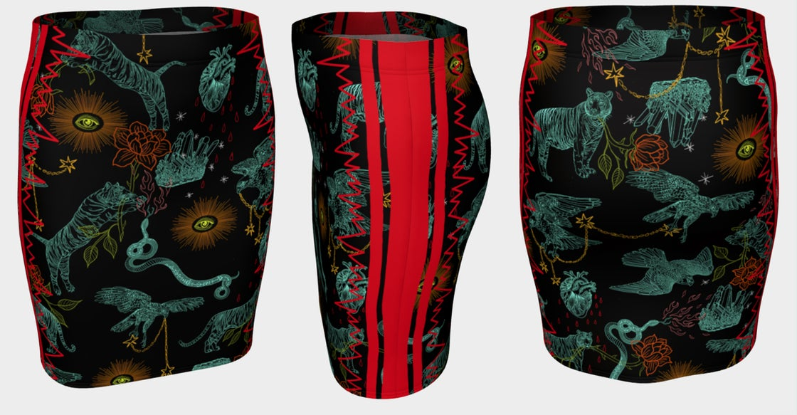 Image of Fitted Skirt in Protectors Print