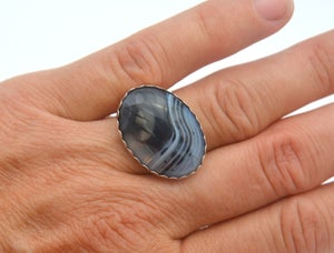 Image of Spirited women's sterling silver blue vein agate ring