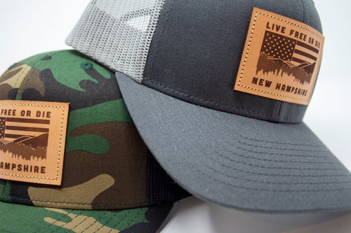 Image of NH Flag & Mountain Cap- Charcoal/Grey mesh