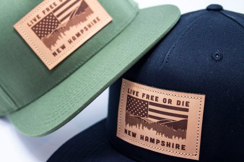 Image of NH Flag & Mountain Cap- Army Green