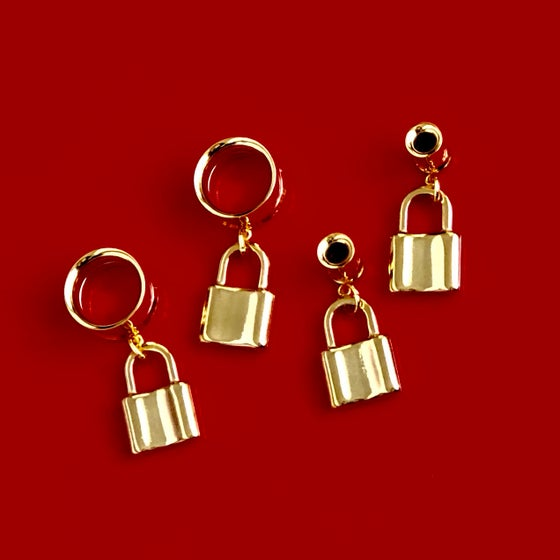 Image of GOLD PADLOCK STRETCHER EARRINGS