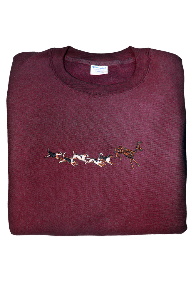 Image of HUNTING CLUB CREWNECK v.II SWEATSHIRT (CHAMPION® REVERSE WEAVE) - MAROON