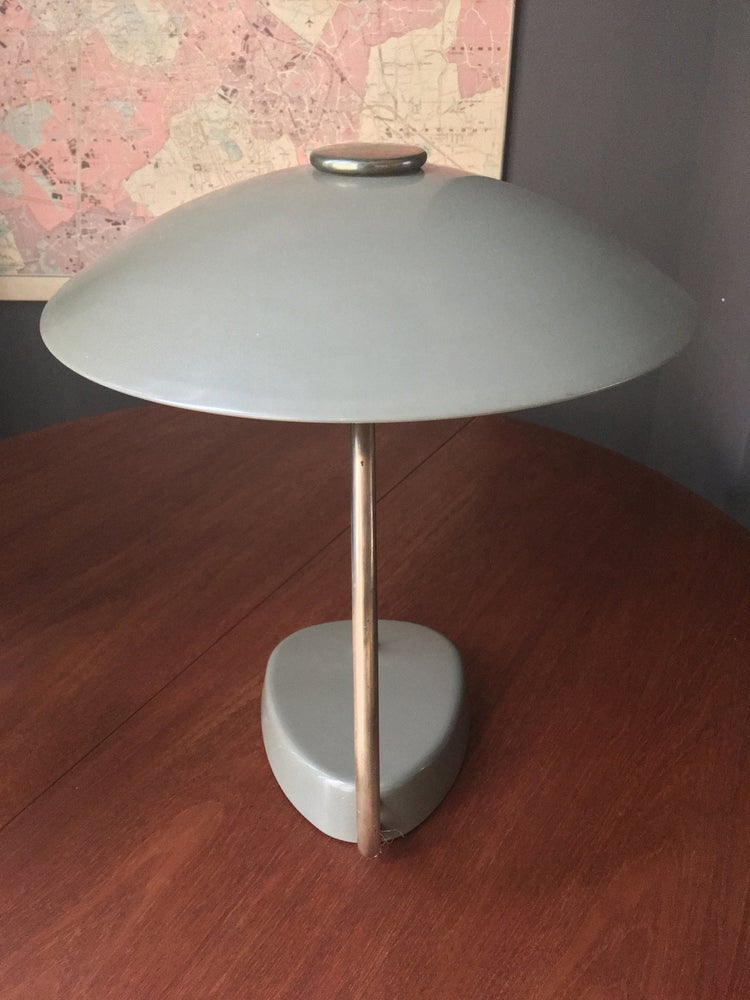 Image of Large Grey Desk Lamp with Brass Details, 1958
