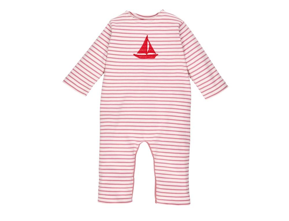 Image of Sweat - Anzug rosa gestreifte  mit gesticktem Boot Art.215237