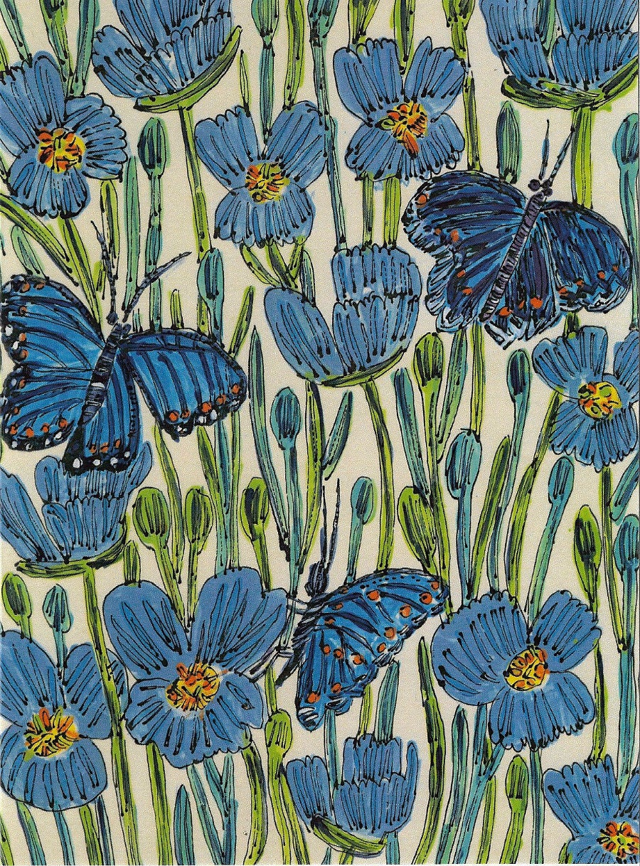 Image of  Blue Flowers & Butterflies Card