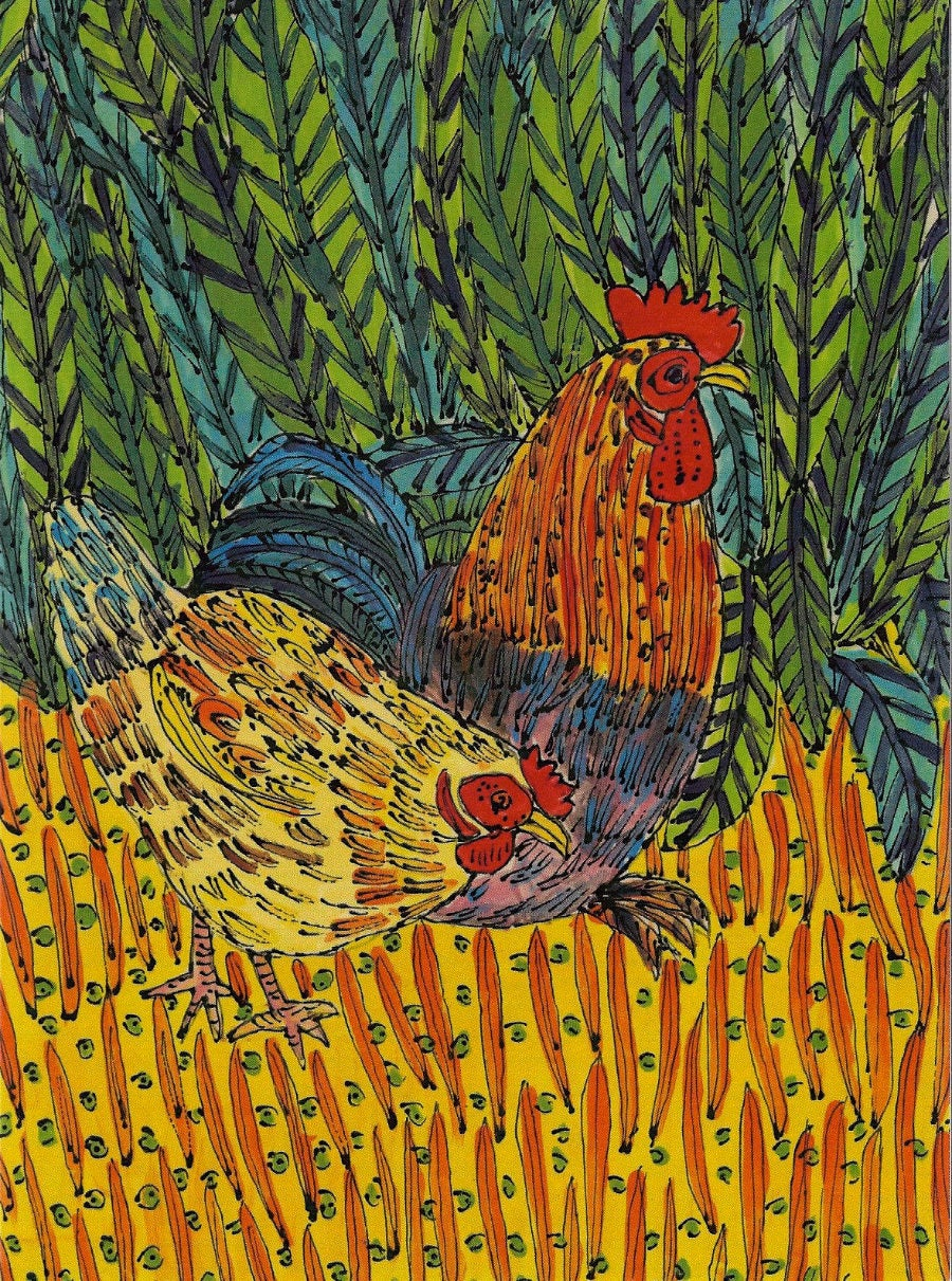 Image of Cockerel & Hen Card