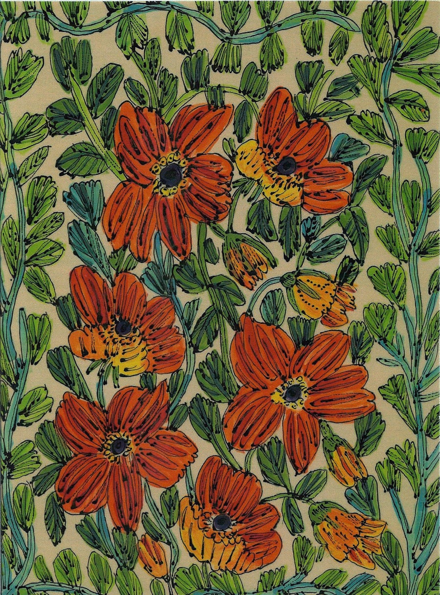 Image of Red Flowers on Green Card
