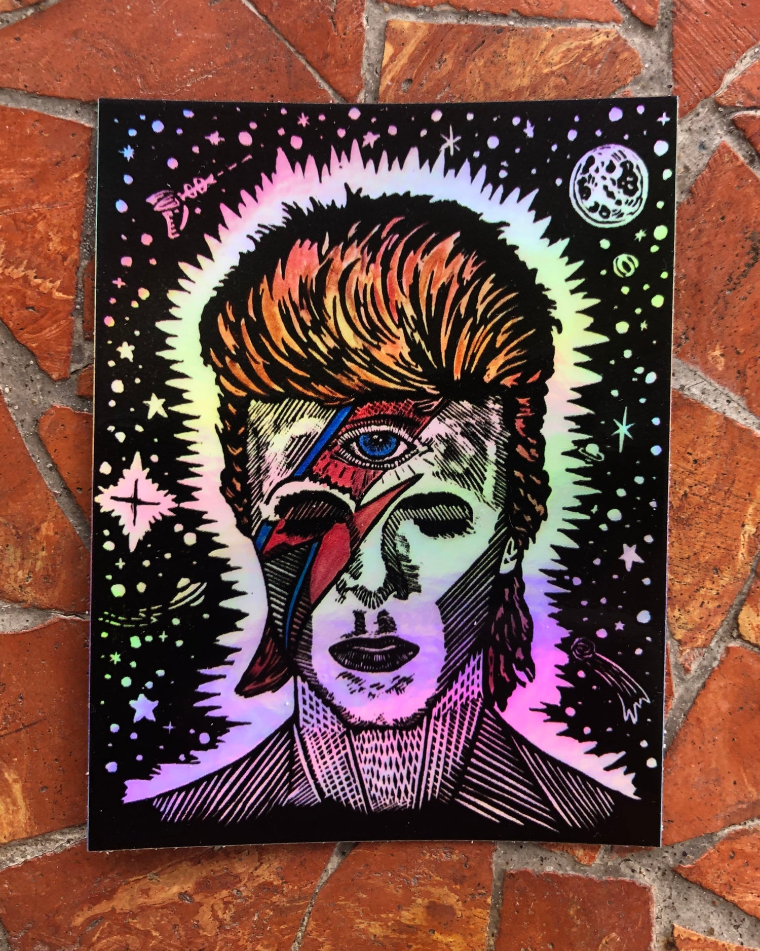 Image of Holographic Bowie stickers