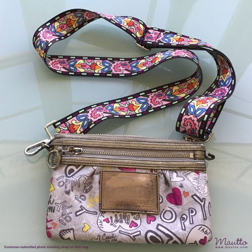 Image of Psychedelic Retro Strap for Handbags - Abstract Stained Glass Design - Guitar-inspired Strap