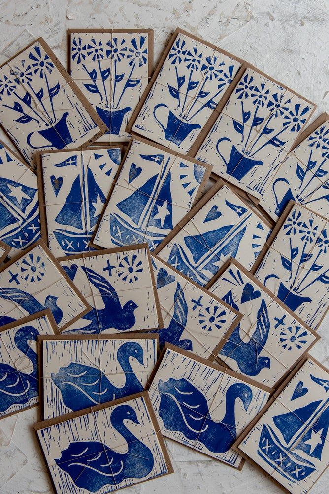 Image of Assorted small block printed greeting cards