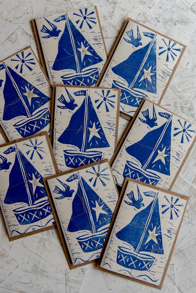 Image of Sail away block printed greeting card