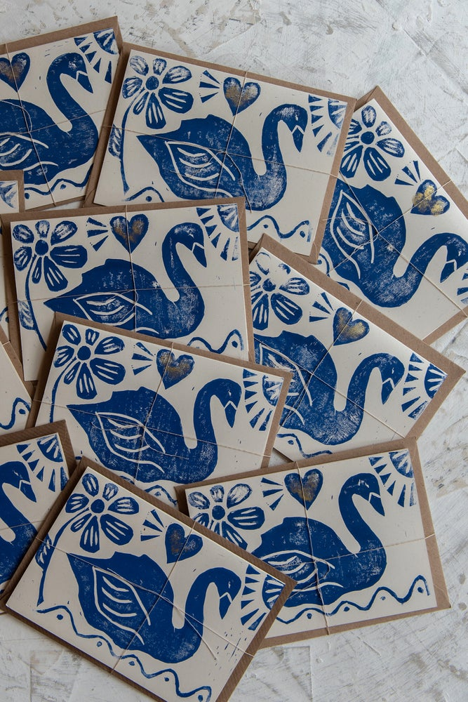 Image of 'Swan' hand block printed greeting cards
