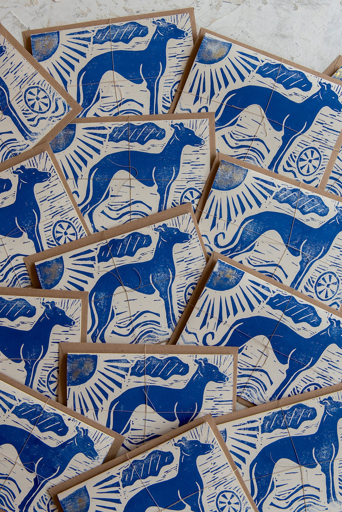 Image of 'Whippet' hand block printed greeting cards