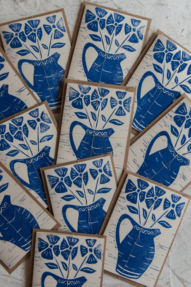 Image of Jug and flowers block printed greeting card