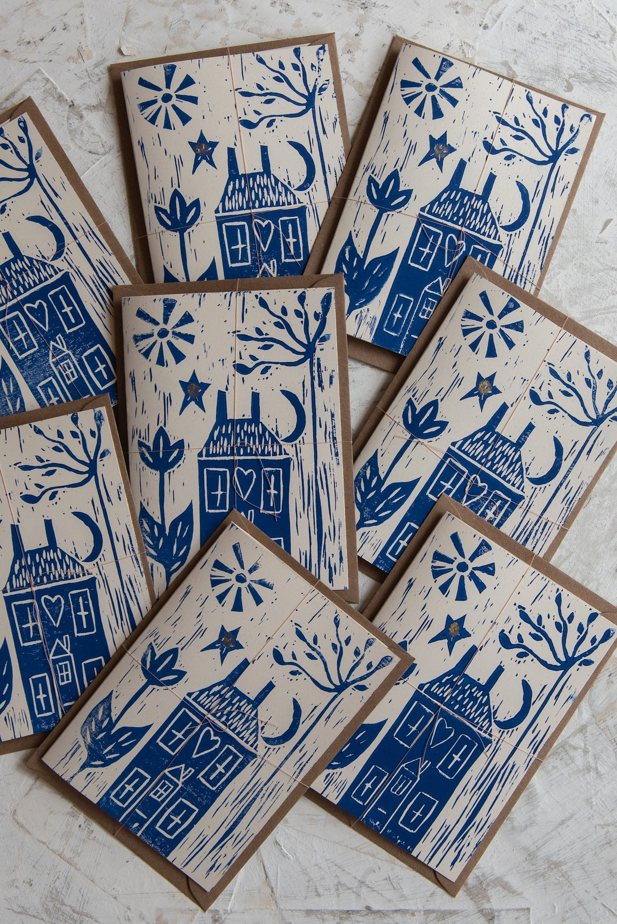 Image of 'Home Sweet Home' hand block printed greeting cards