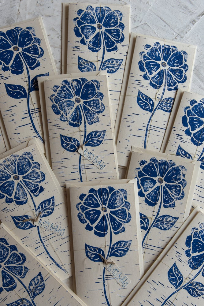 Image of Blue flower hand block printed greeting cards