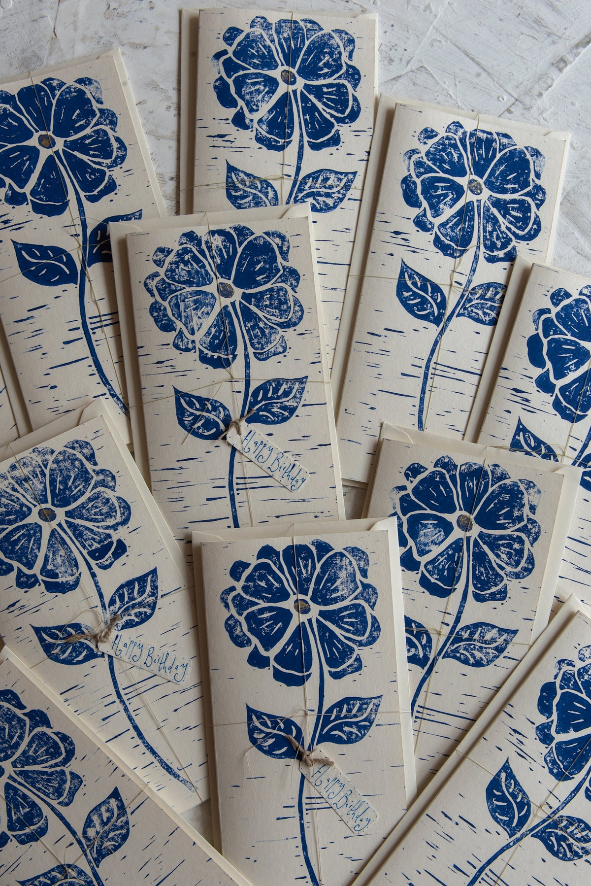 Image of 'Blue Flower' hand block printed greeting cards