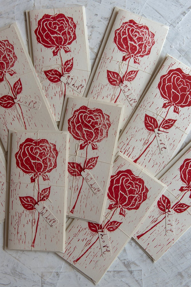 Image of 'Red Rose' hand block printed greeting cards