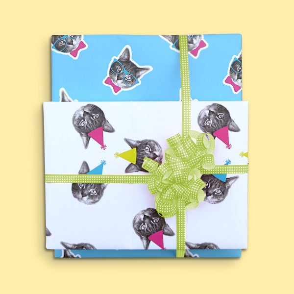 Image of gee whiskers series: birthday wrapping paper - party cat - cat gift wrap - kitty bday wrapping paper