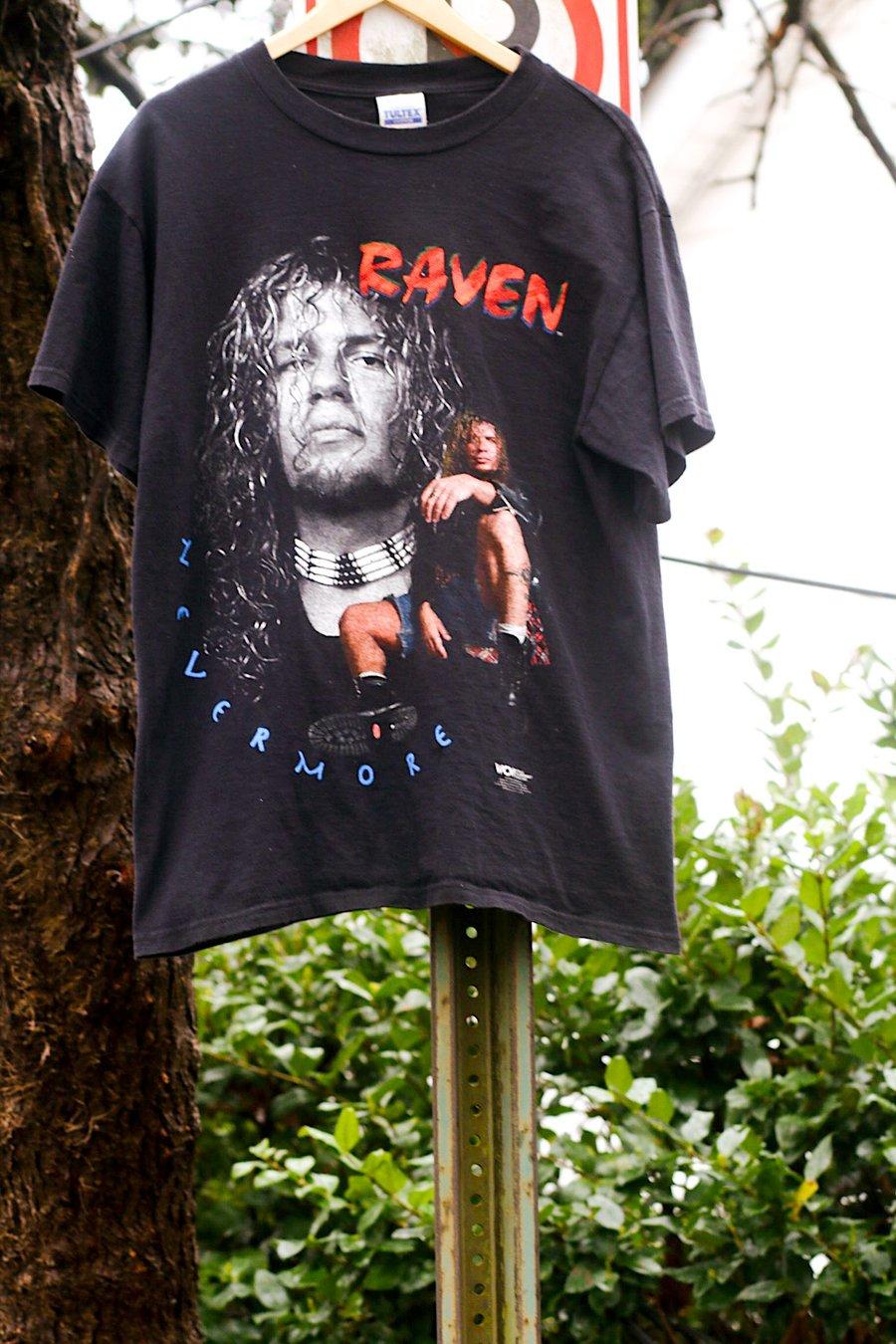 "Image of Rare 1998 Vintage WCW World Championship Wrestling ""RAVEN-Never More"" Wrestling Tee"