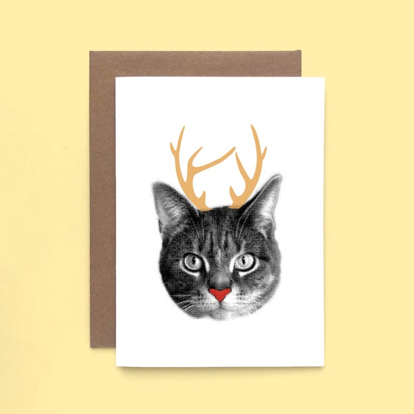 Image of gee whiskers series: cat-a-lope holiday card - christmas card - cat with antlers