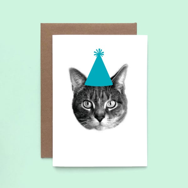 Image of gee whiskers series: party cat card - happy birthday - birthday cat