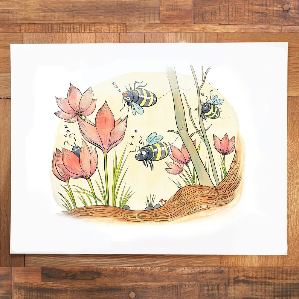 Image of Sleepy Bees Print