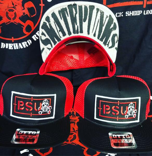 Image of BSU Red/Bk Recon hat w/ Skatepunks under bill print