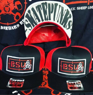 Image of BSU Red/Bk Recon hat w/ Skatepunks under bill print