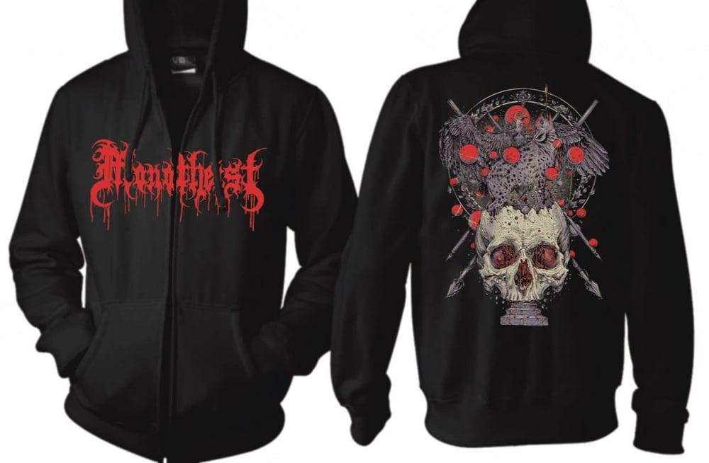 Image of Skull and Bloody Logo Hoodie - Black