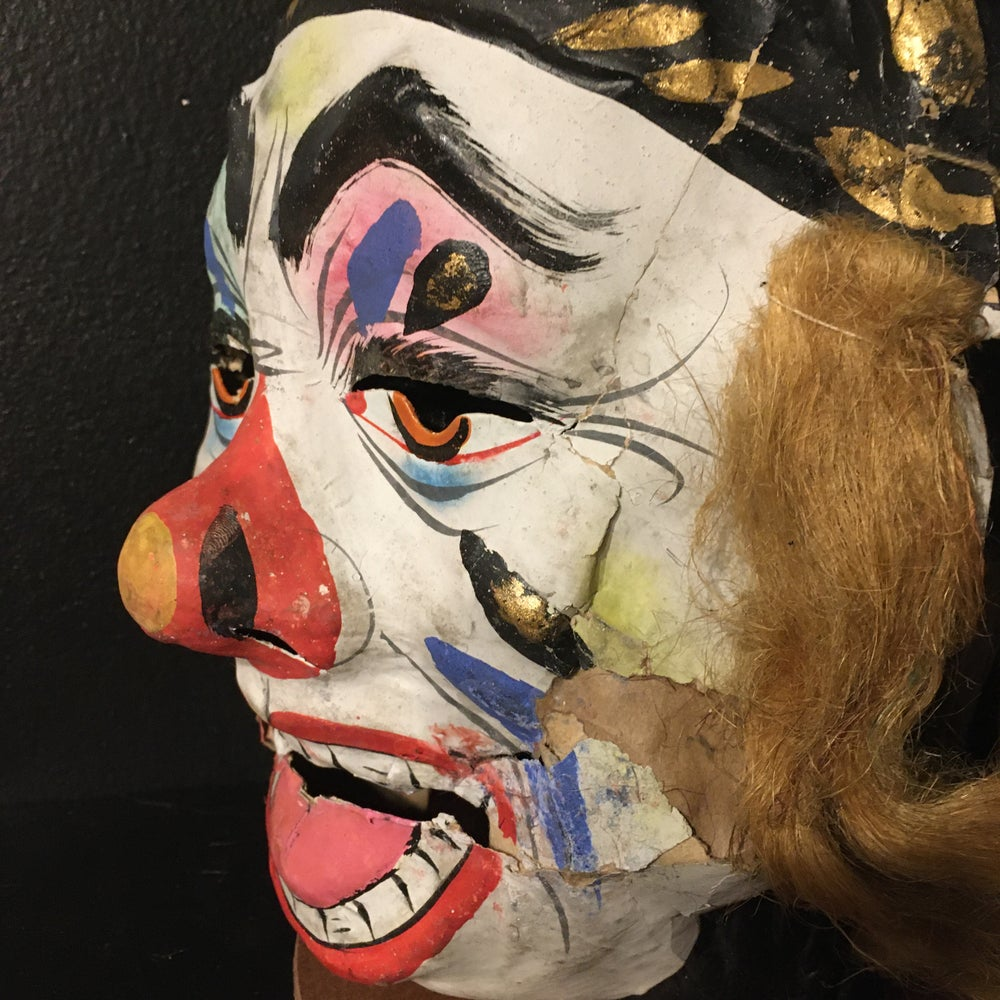 Image of Antique Hand Painted Clown Mask