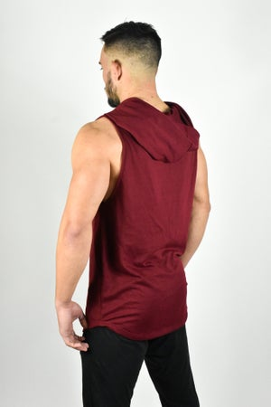 Image of SIGNATURE CUT OFF HOODIE BURGUNDY